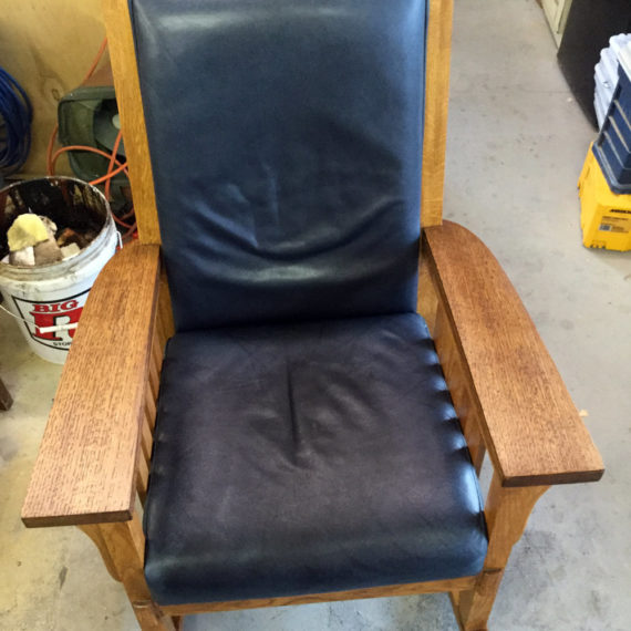 Furniture Restoration - Black Leather Chair